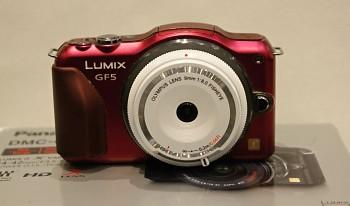 Panasonic Lumix GF5 + Obj. Olympus 9mm 1:8f + 2x Baterie Originál